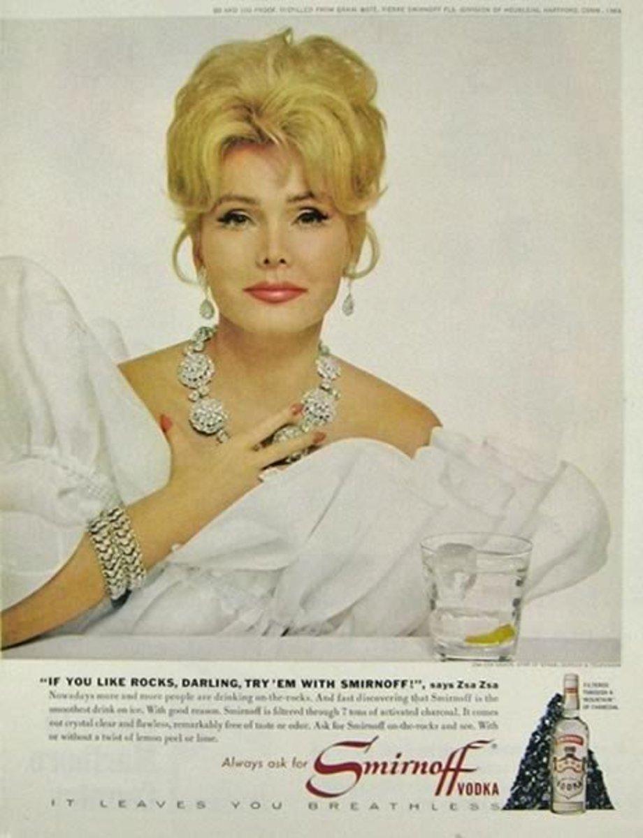 Vintage Smirnoff vodka ad with Zsa Zsa Gabor
