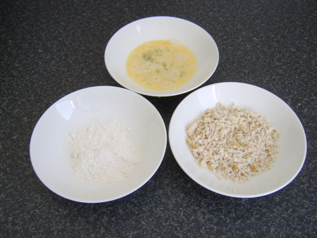 Flour, egg and breadcrumbs for frying camembert