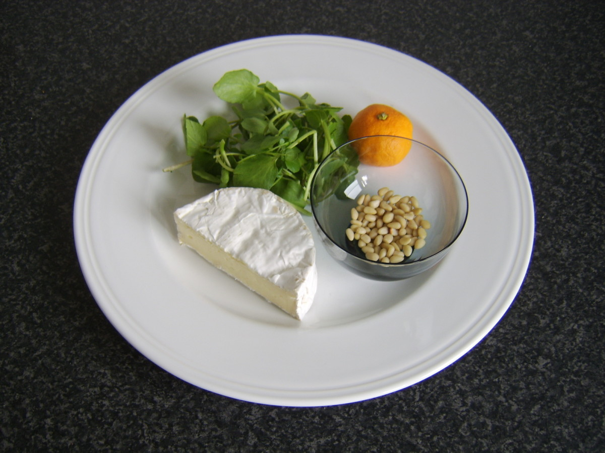 Camembert, watercress, satsuma and pine nuts form the basis of this dish