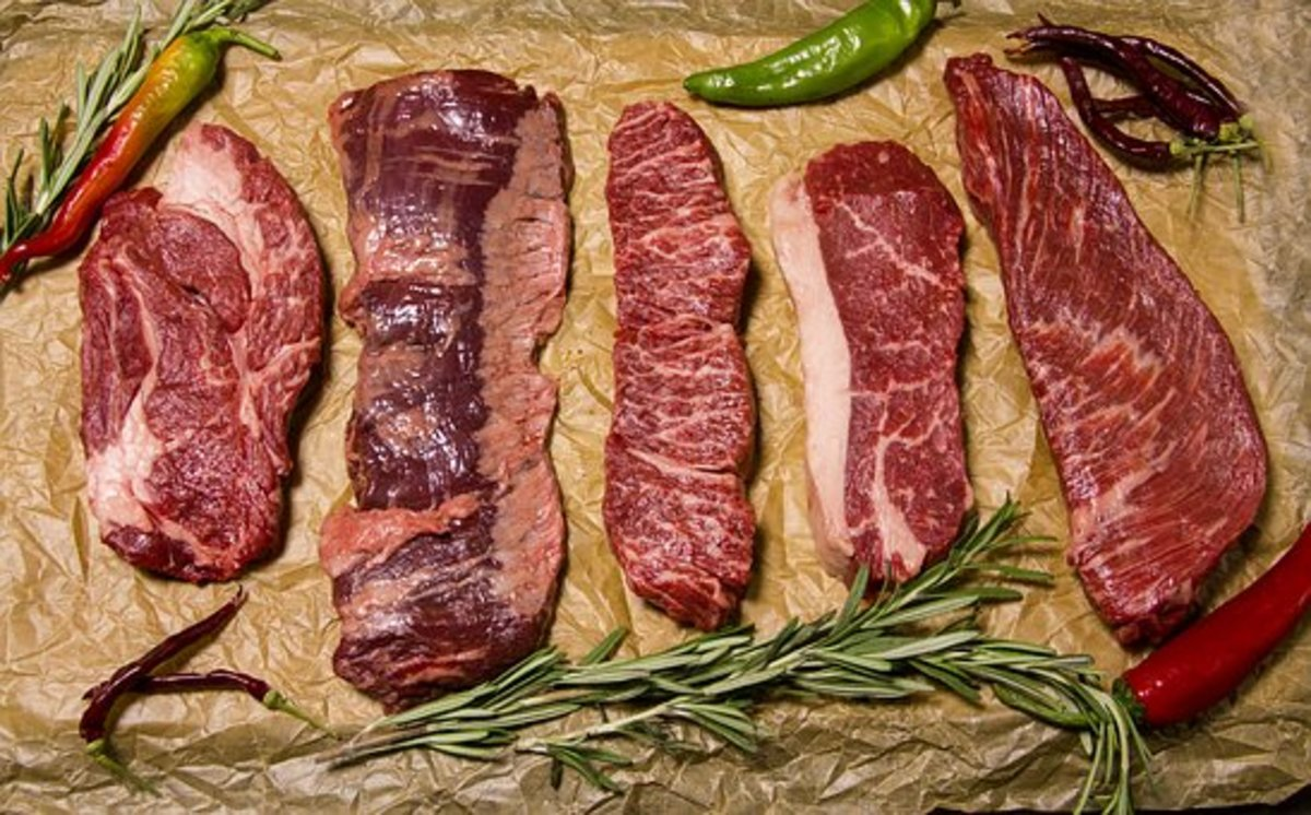Beef cuts have varying amounts of marbling (fat content)