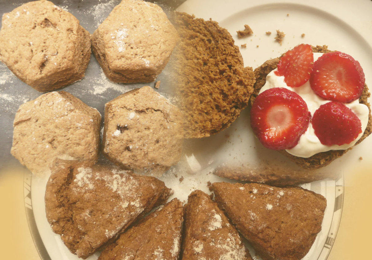 Scones hot from the oven: in wedges or hexagons, and with cream and strawberries.