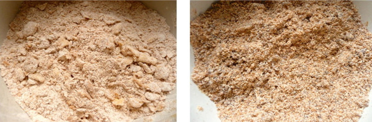 On the left the butter still needs more rubbing in. In the picture on the right it is ready.