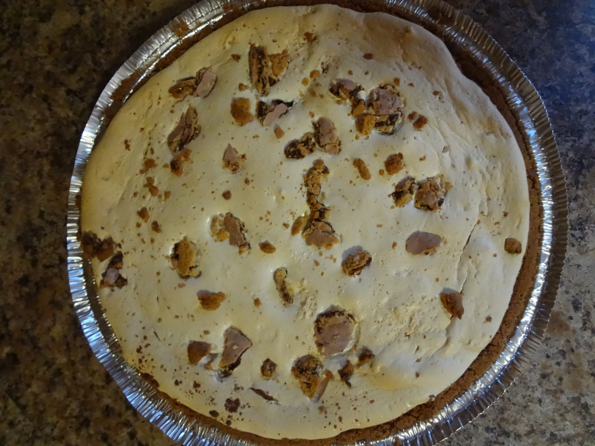 The pie is a light golden brown on top with little bits of tempting Pop-tarts.