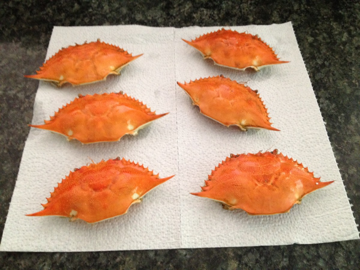2. Scrub crab shells clean, boil, and let dry.