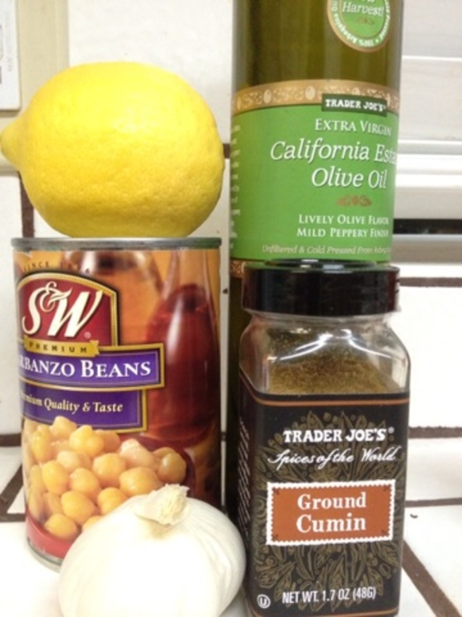 Ingredients for hummus without tahini