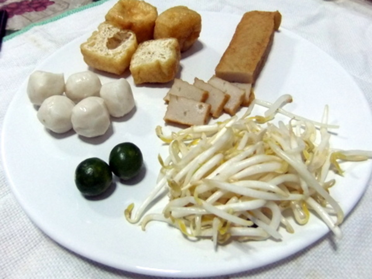 fish balls, Tofu balls, sliced fish cakes, beansprouts and calamansi lime: for the Mee Kari