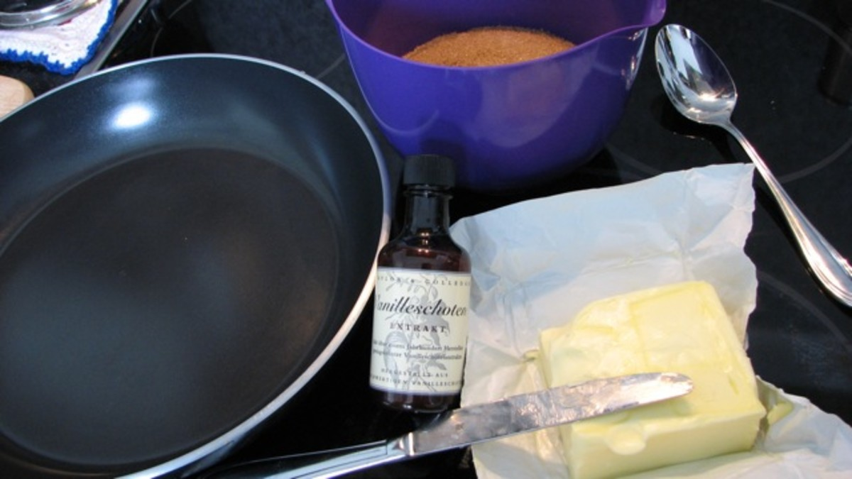 Toffee ingredients - a little butter, raw/brown sugar and vanilla essence.