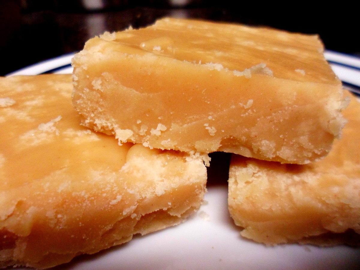 Our finished peanut butter fudge sliced into pieces.
