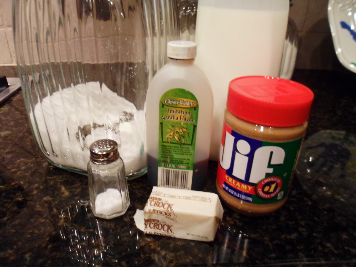 The six ingredients needed to make peanut butter fudge.