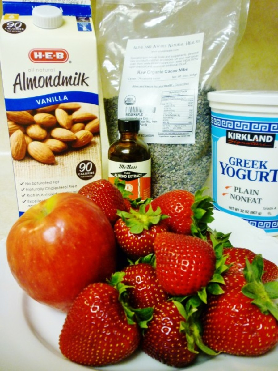 Ingredients needed to make this smoothie with the exception of 1 egg