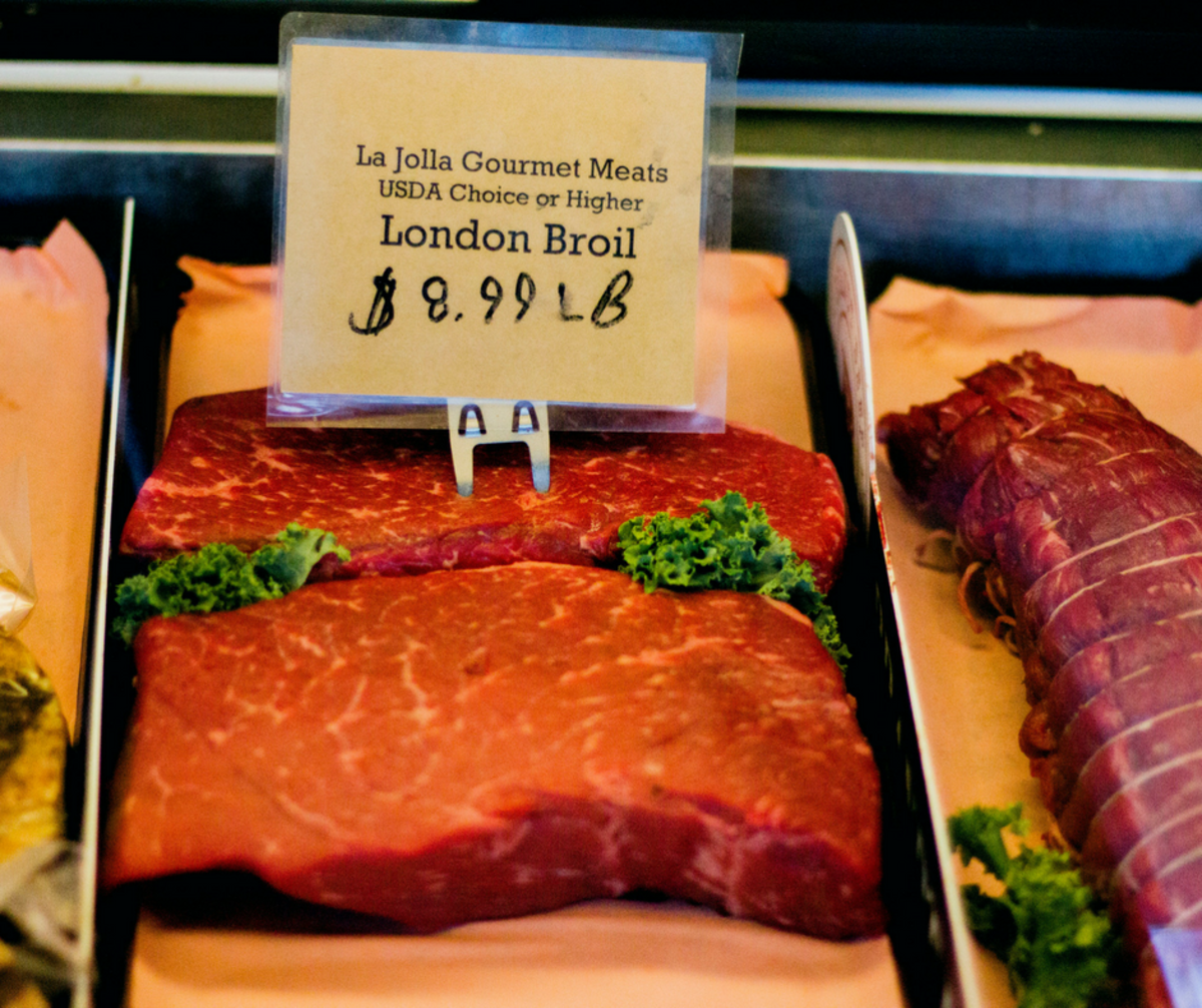 Top round steak, which some butchers call London Broil. Though, technically London Broil refers to a cooking method, not a cut of meat.