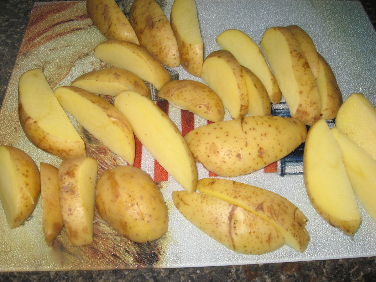 Cut potatoes into wedges.