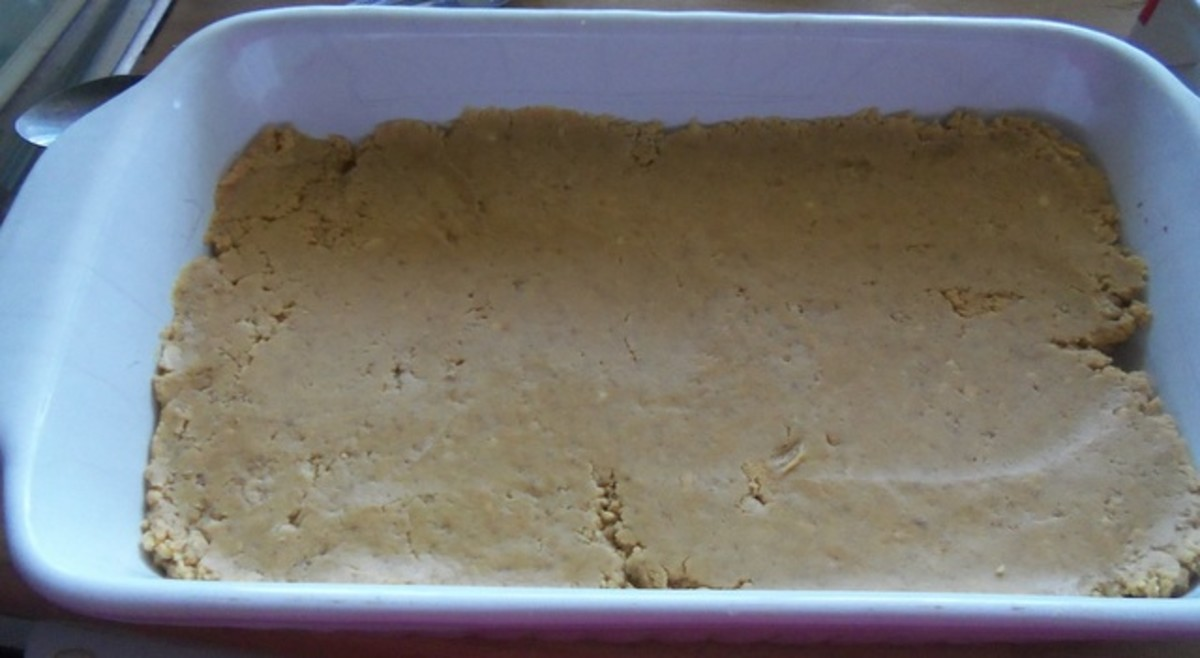 Press the peanut butter base into a baking dish