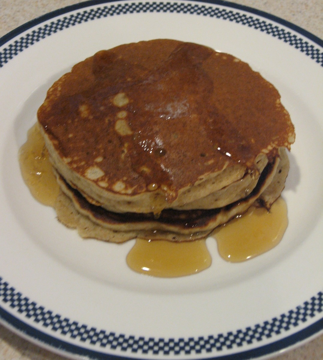 Maple syrup makes an excellent topping for these pancakes.