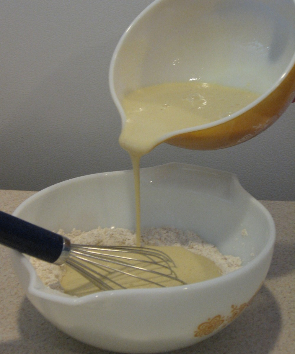 Add the wet to the dry ingredients.