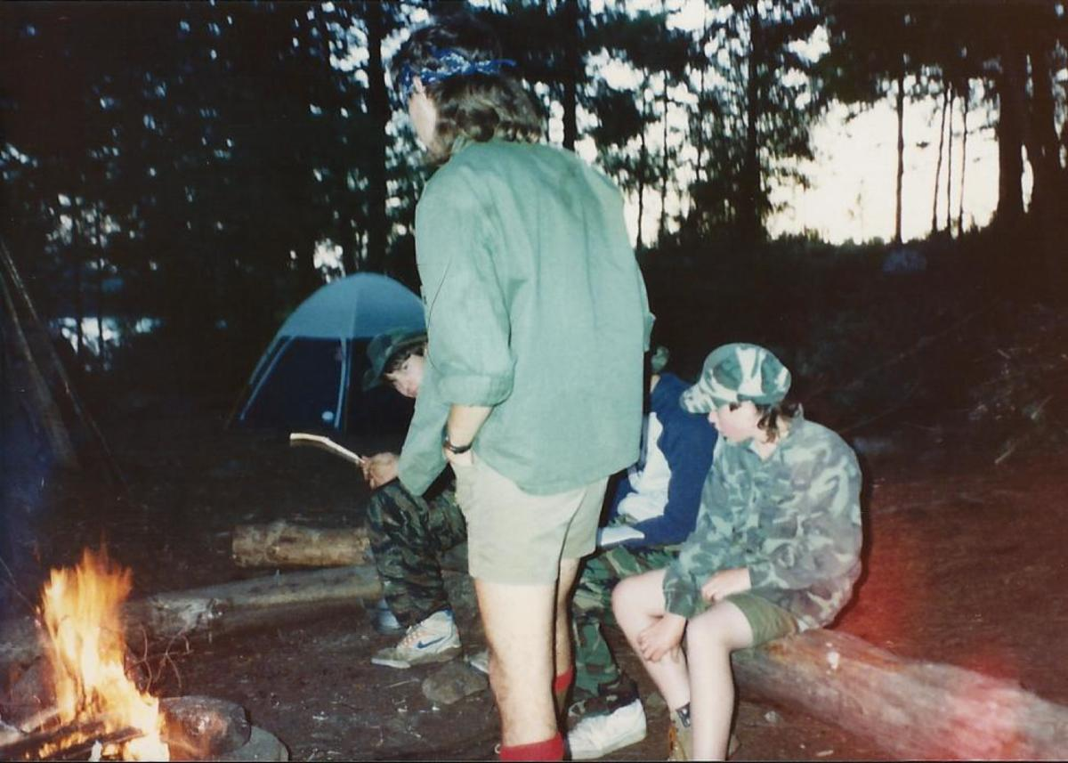 A typical campout with my Troop back when I was a Scout.  I'm the one peering around to the far left.  Yes, I know I am wearing tiger stripe pants with Nike sneakers - an early fashion faux pas.