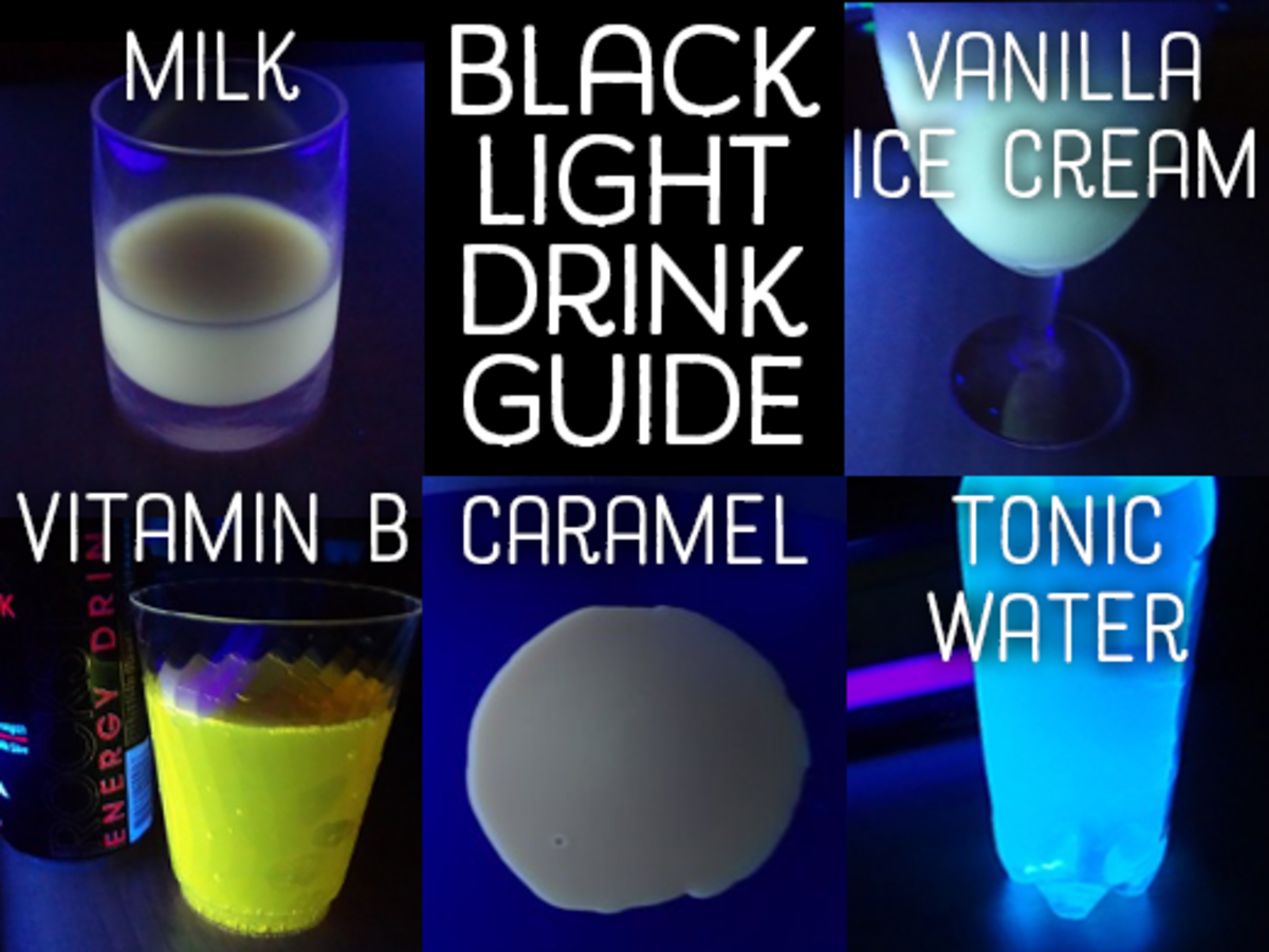 Different beverages glow different colors under black light.