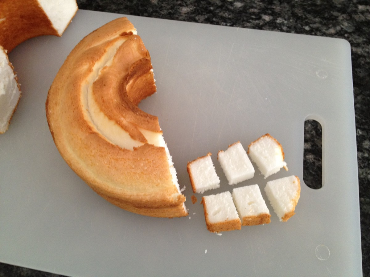 Cut cake into cubes as shown, or simply tear into bite-sized pieces.