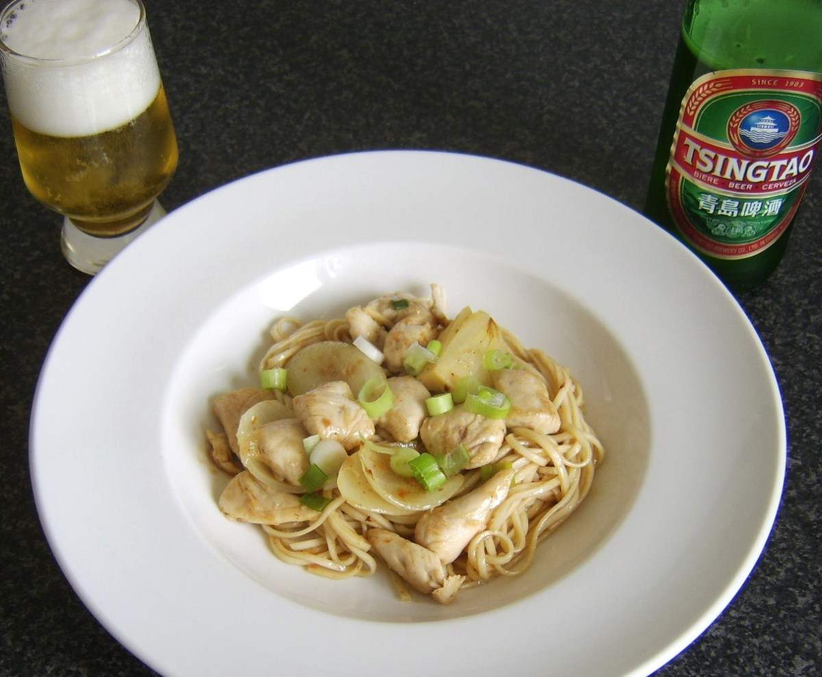 Easy chicken chow mein and Chinese beer