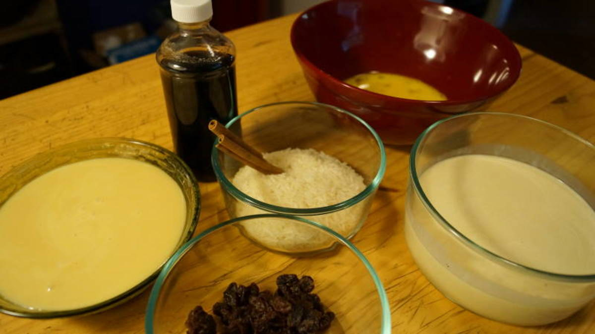 Ingredients for arroz con leche or Mexican rice pudding.