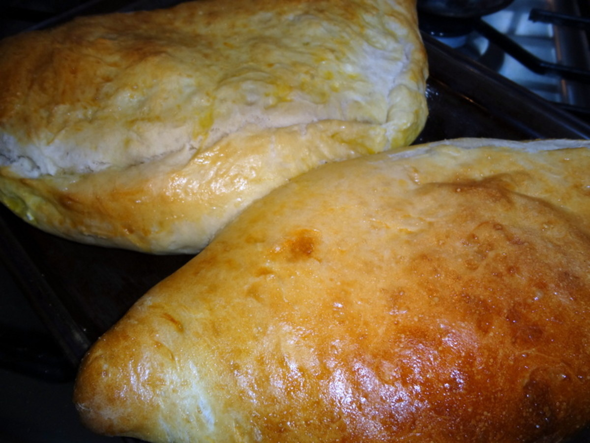 Golden brown calzones