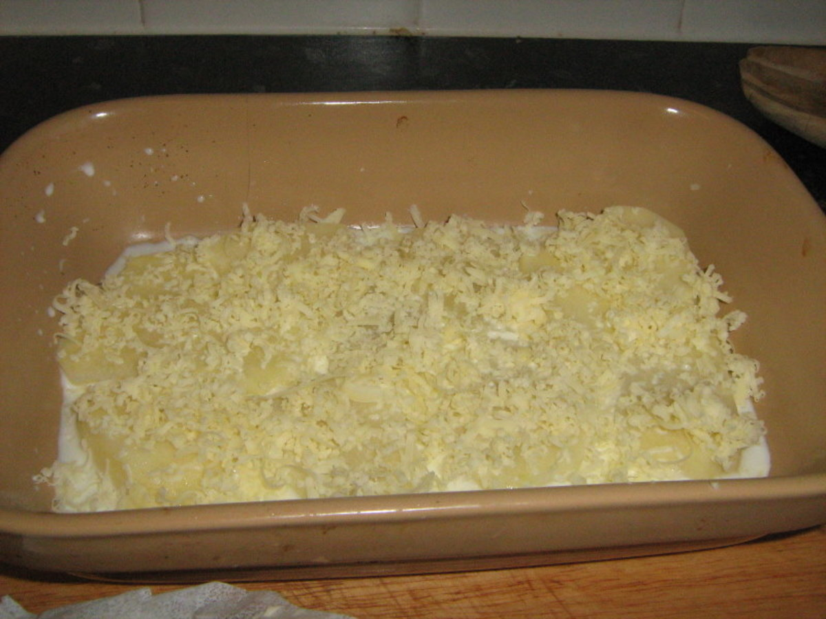 Grated Cheese on Potatoes