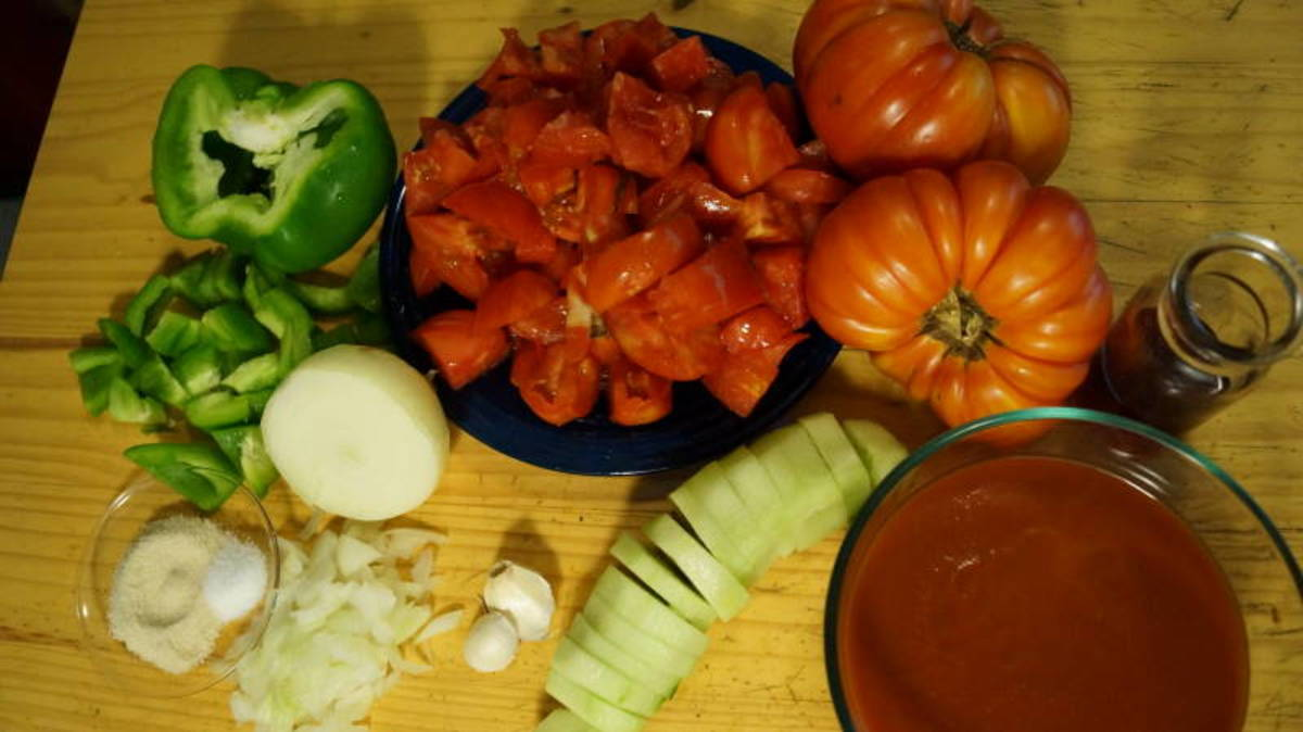 Gather the freshest ingredients possible for really good gazpacho soup.
