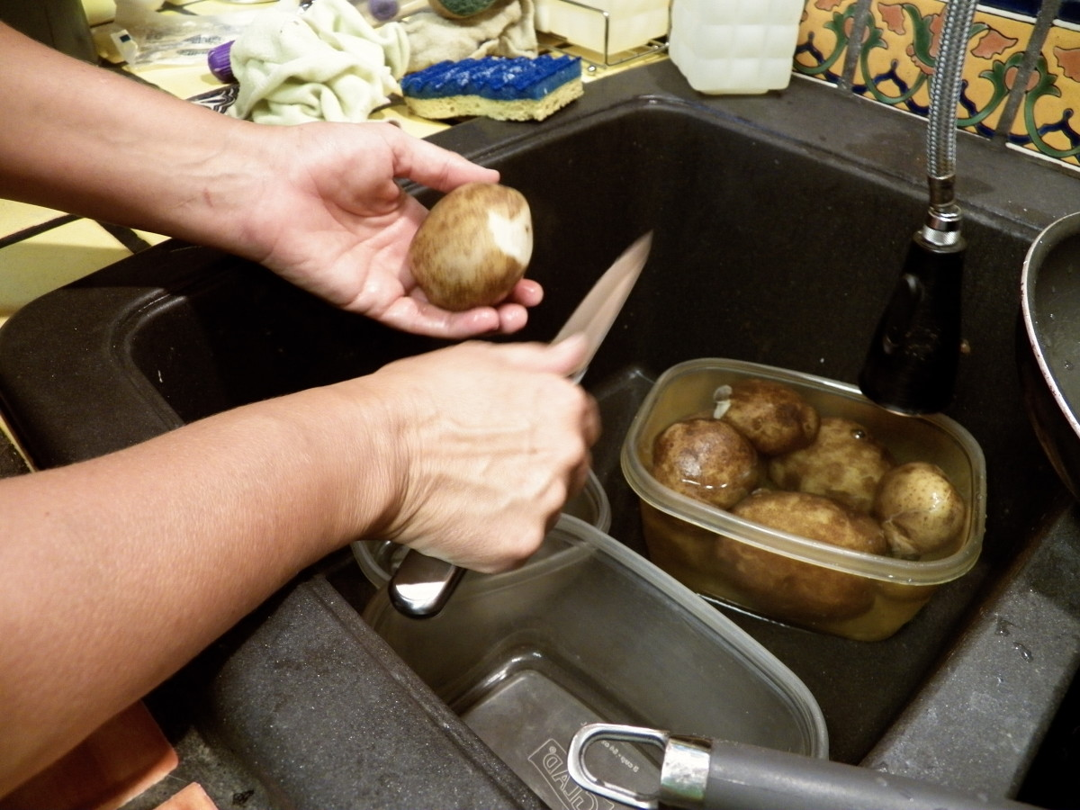 Step 6: Peel potatoes with a knife.  The skin should come off easily.