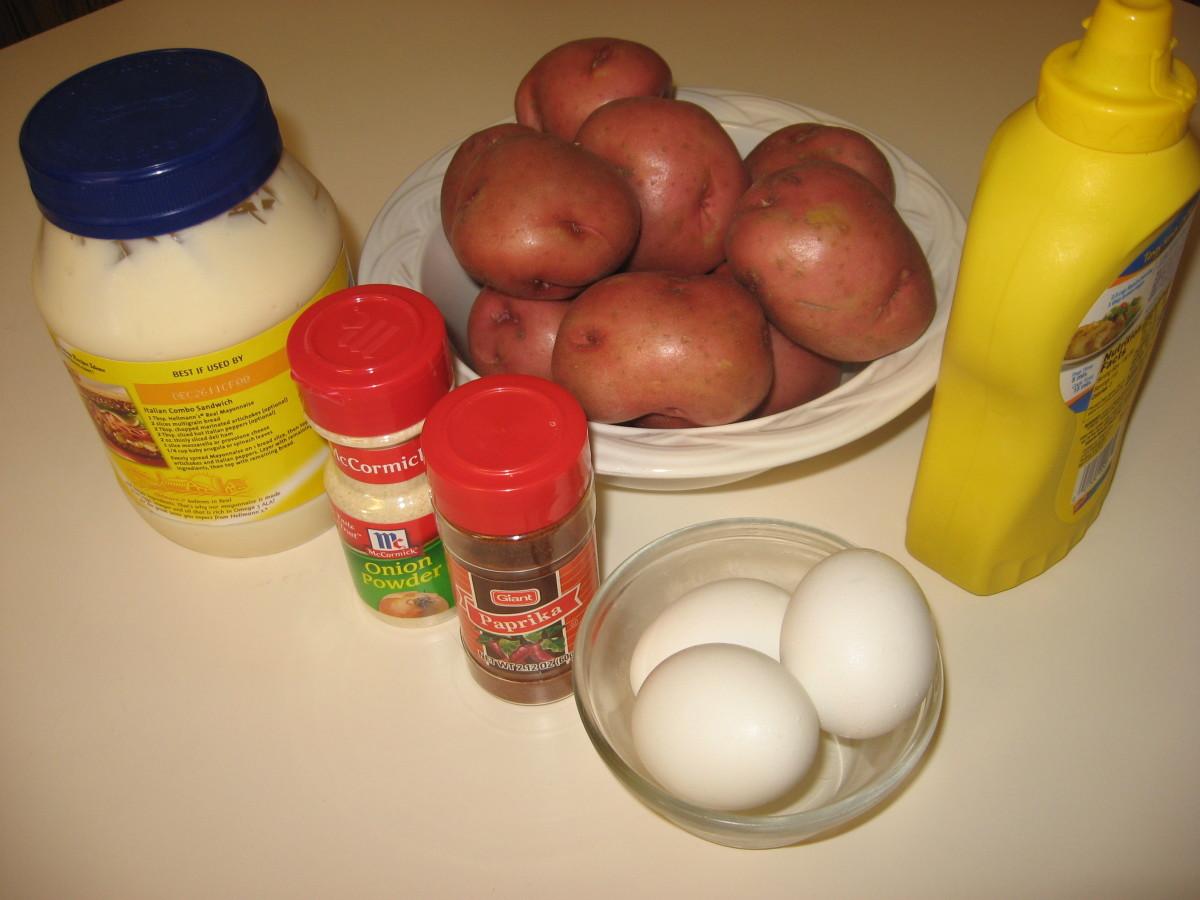 Ingredients for the deviled egg potato salad