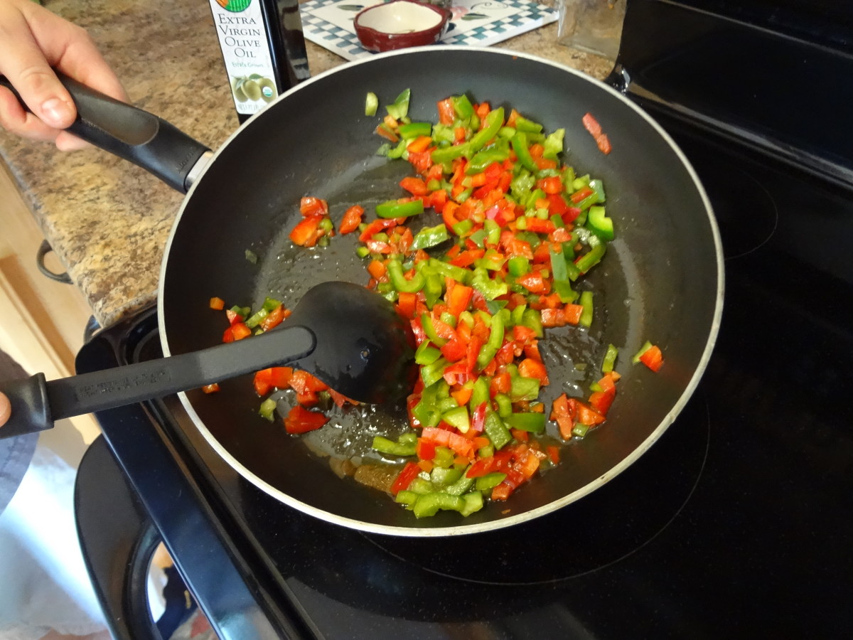 Dice the peppers and saute with any other vegetables you plan to include.