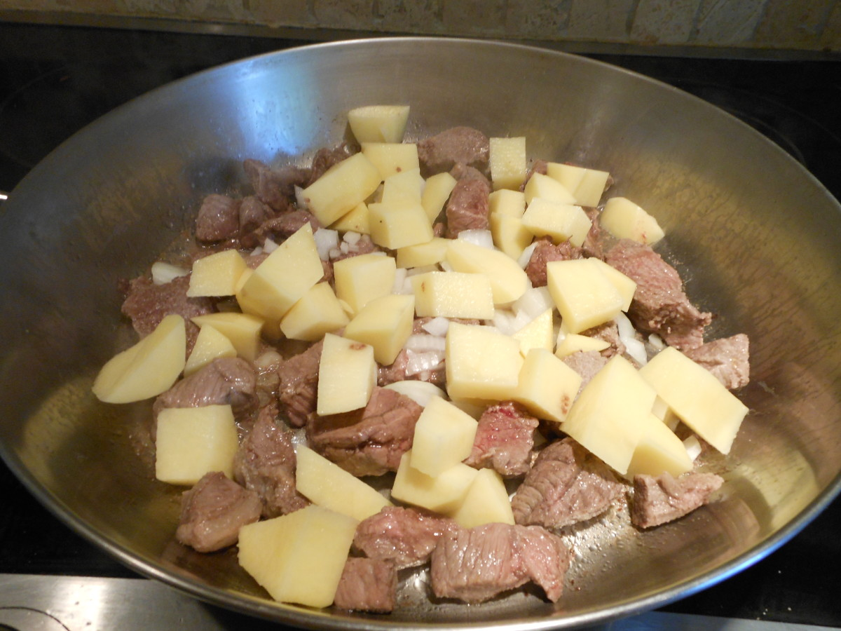 Add one peeled and cubed potato.