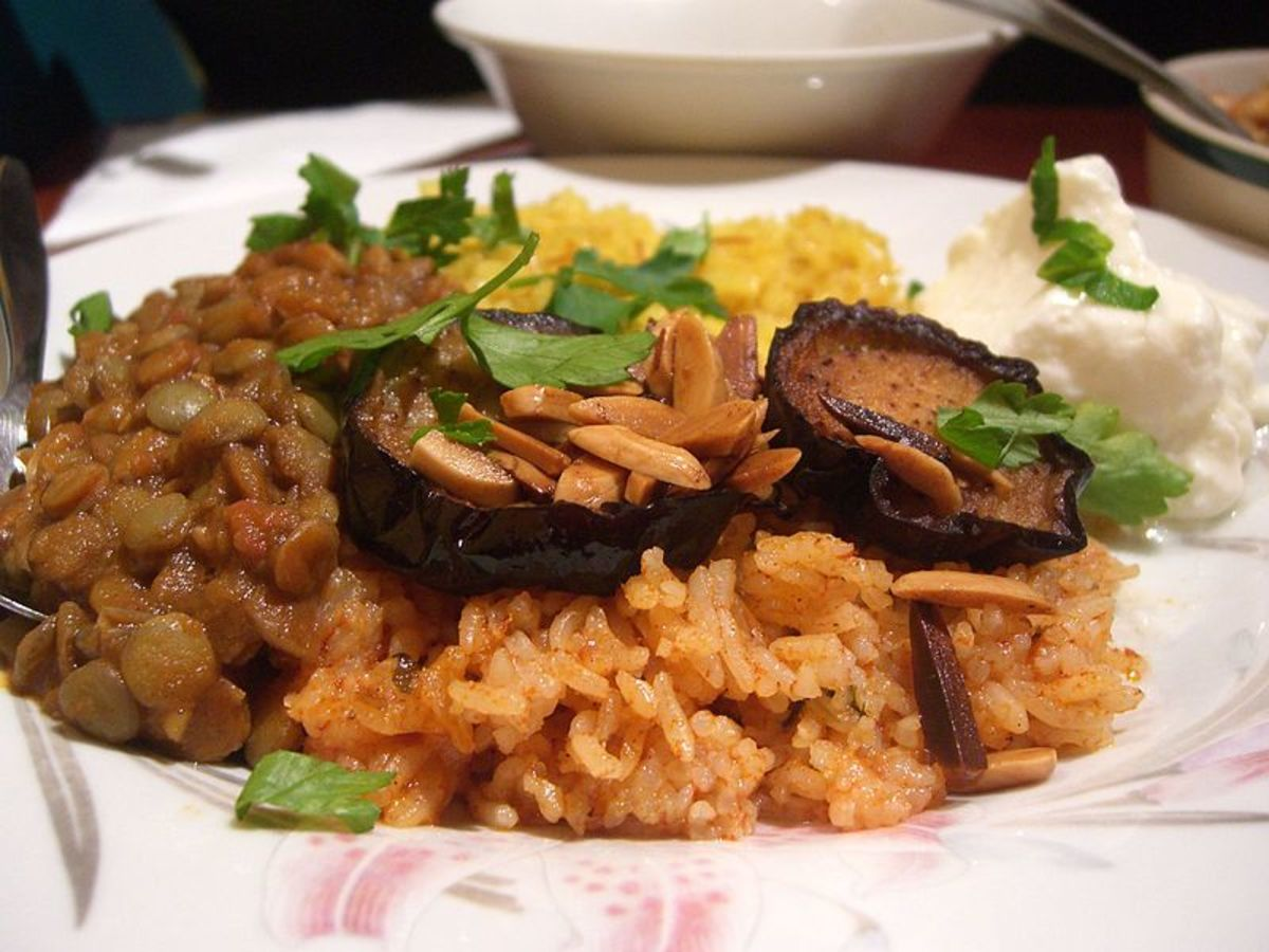 Beans, Nuts, Eggplant, Tomatoes,Rice: The Fusion of Influences on Moroccan food with the binding spices!