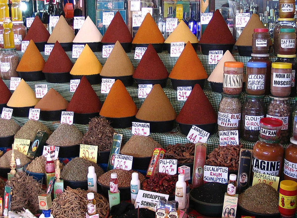 Both Berber and Mediterranean Spices in a local Moroccan spice market