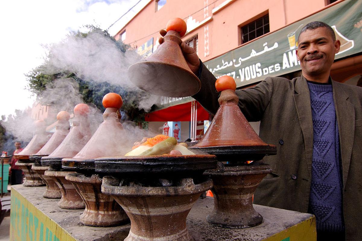 Outdoor tajine cooking in Morocco