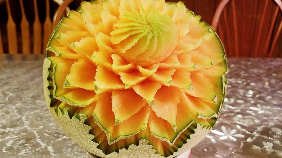 A carved cantaloupe