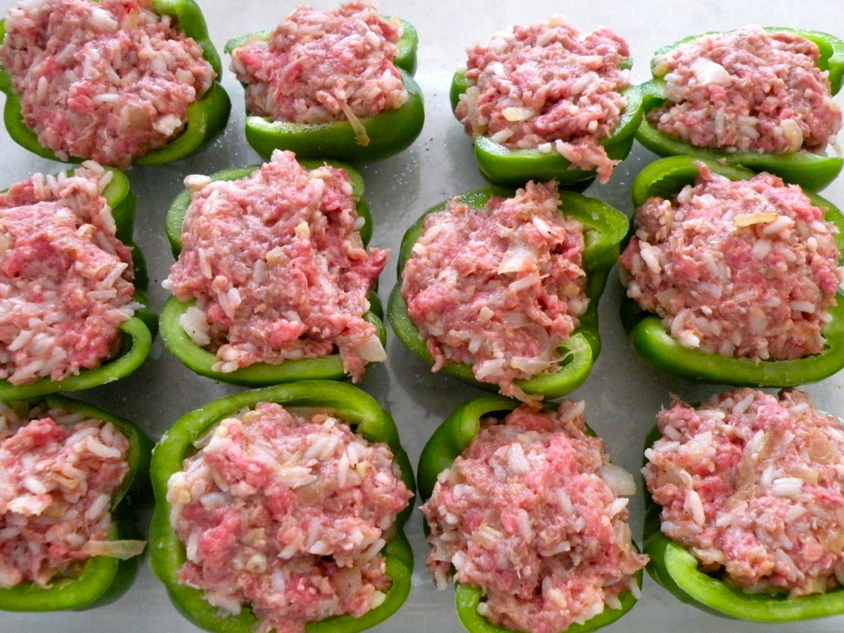 Fill each pepper half with beef mixture rounding top slightly.
