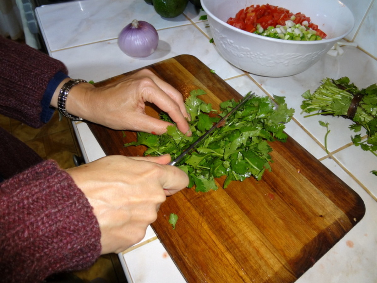 Finely chop cilantro leaves.