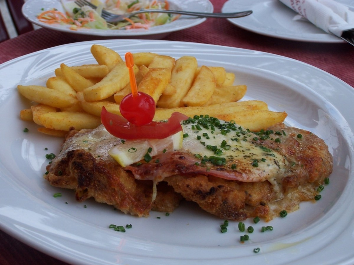 French fries with a Holsteinschnitzel.