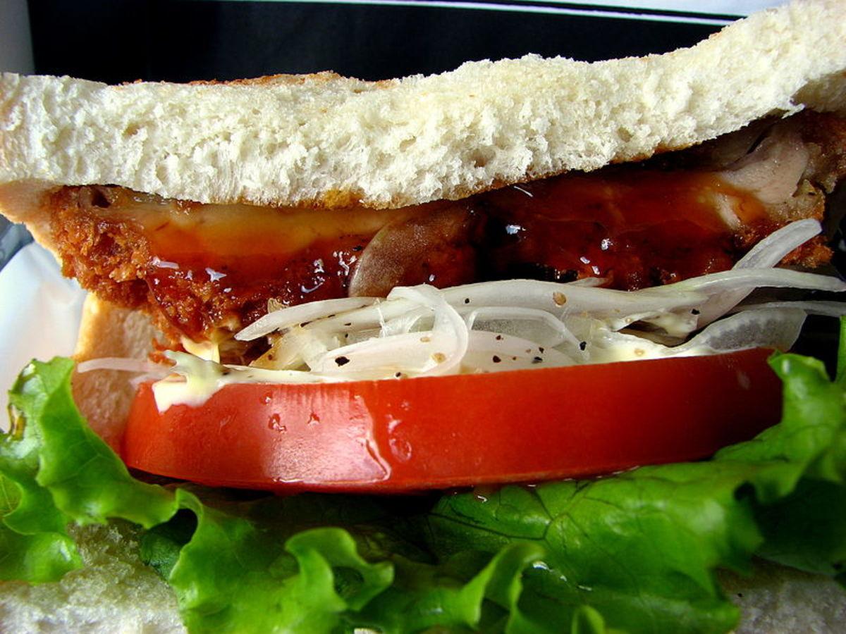 Delicious looking Katsu sandwich filling