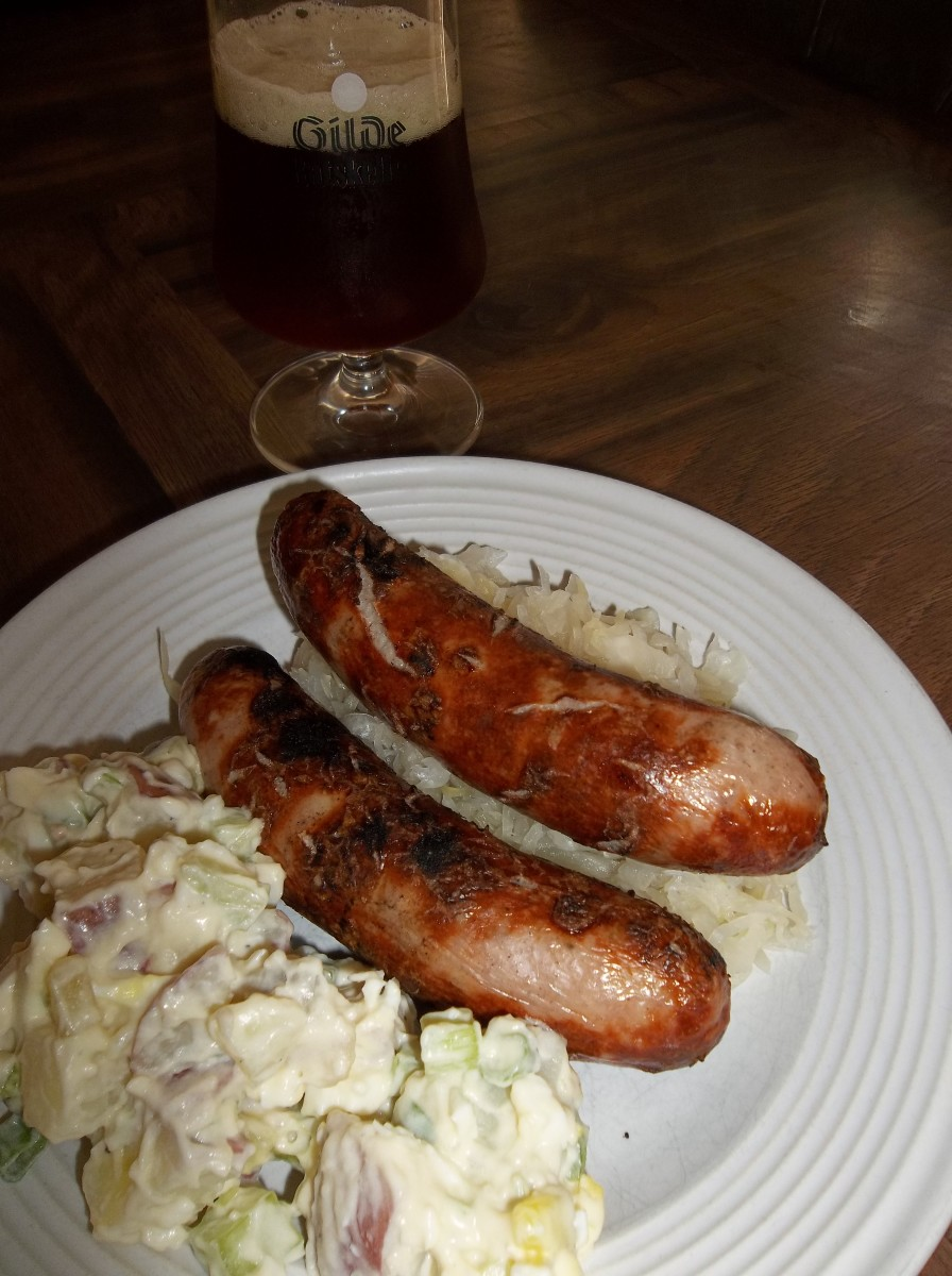 Bratwurst with sauerkraut and potato salad.
