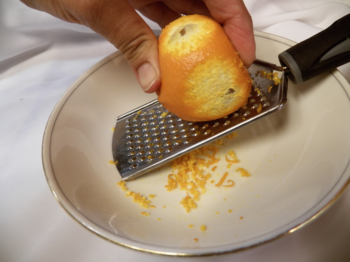 Grating method to make orange zest.