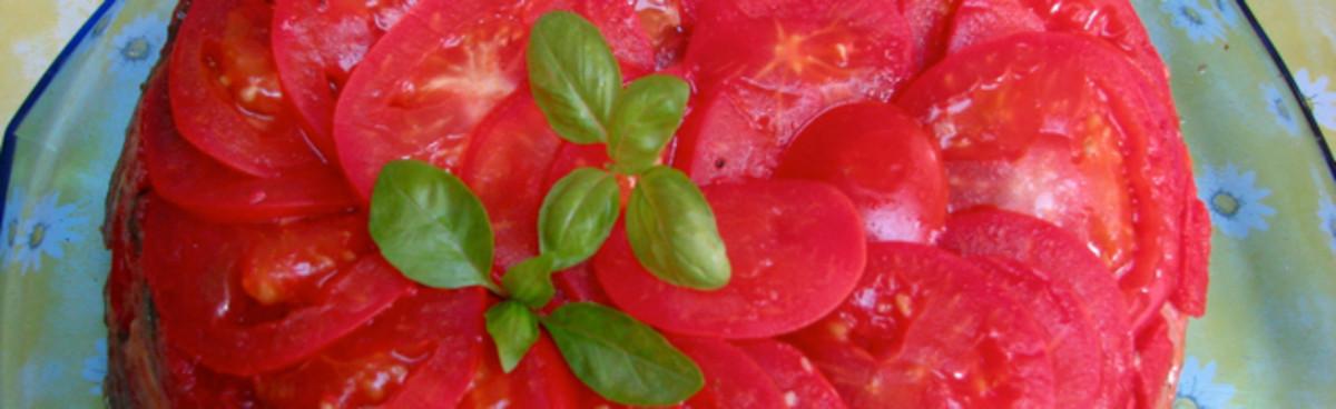 Tomato parmesan pie.