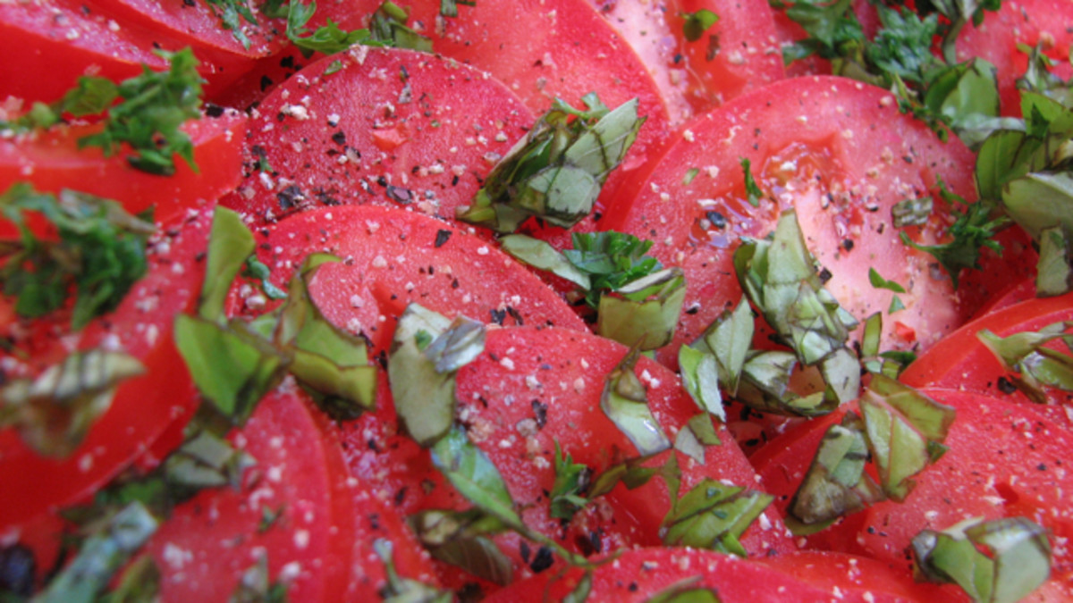 Tomato layer with extra pepper and herbs.