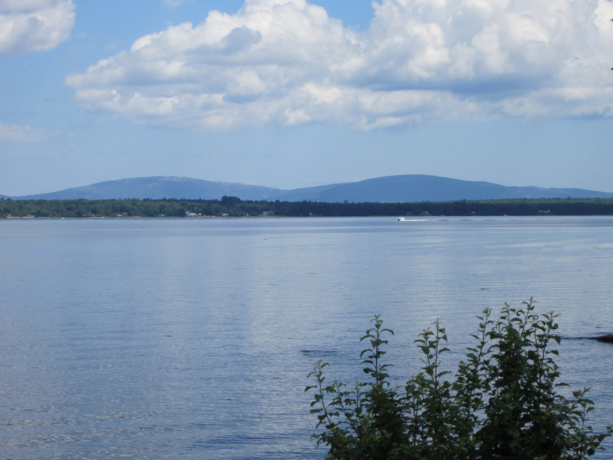 View across Western Bay to Mount Desert Island and mountains.