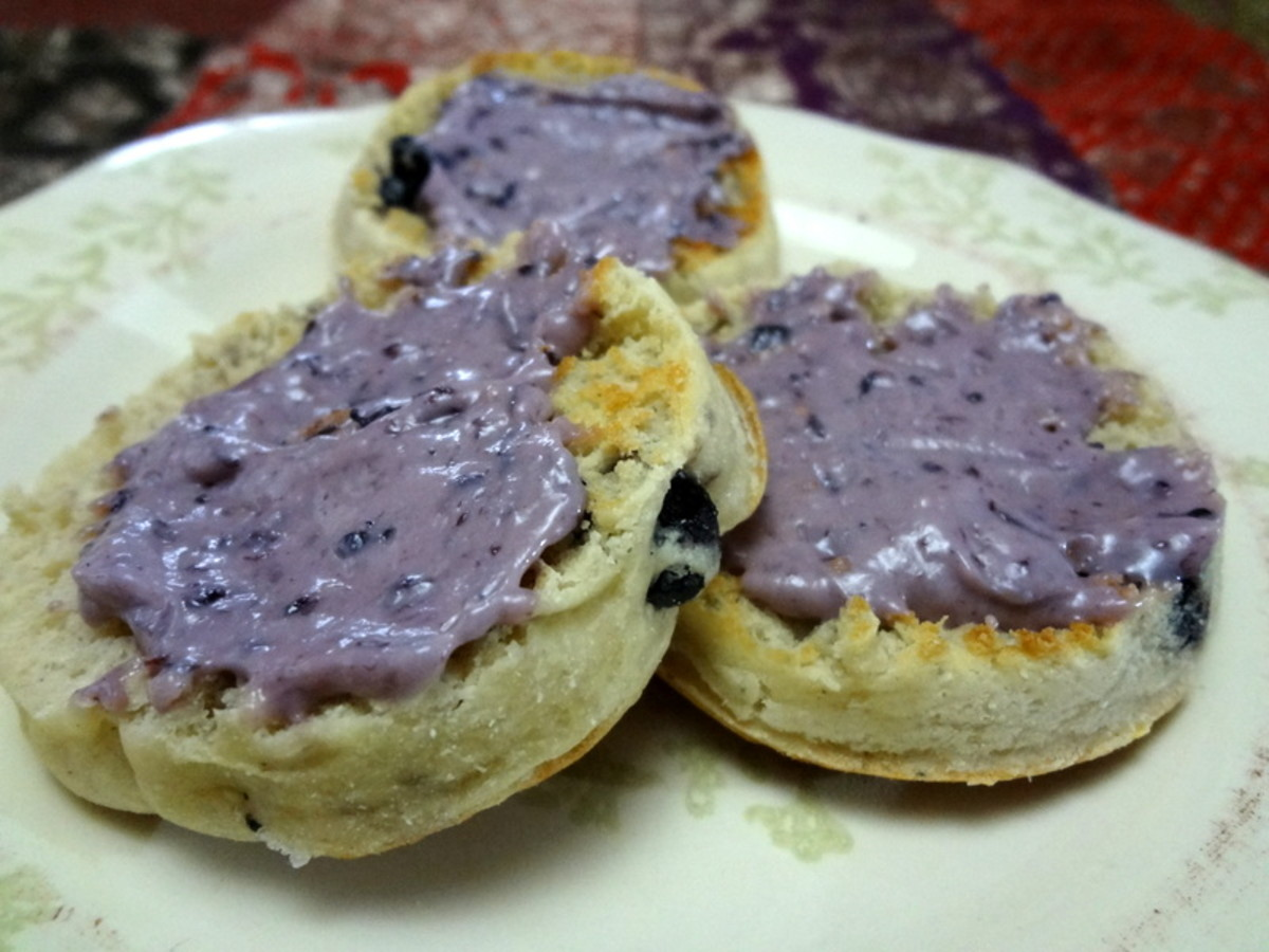 Blueberry English muffins with berry cream cheese