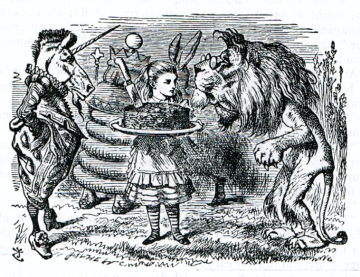 What Alice found - The lion and the Unicorn fighting over Alice's plumb cake