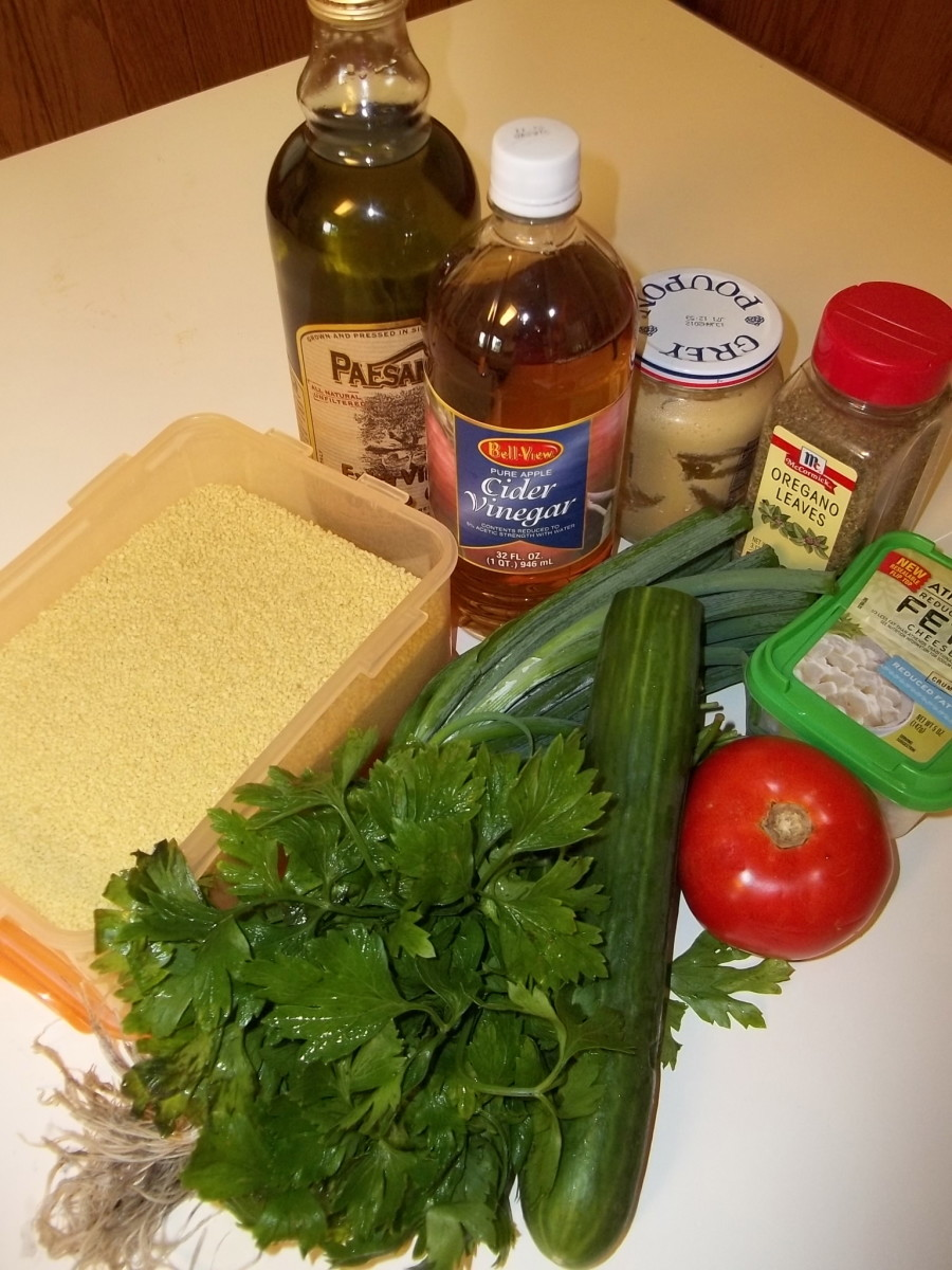 Ingredients for Cucumber Tomato Couscous Salad