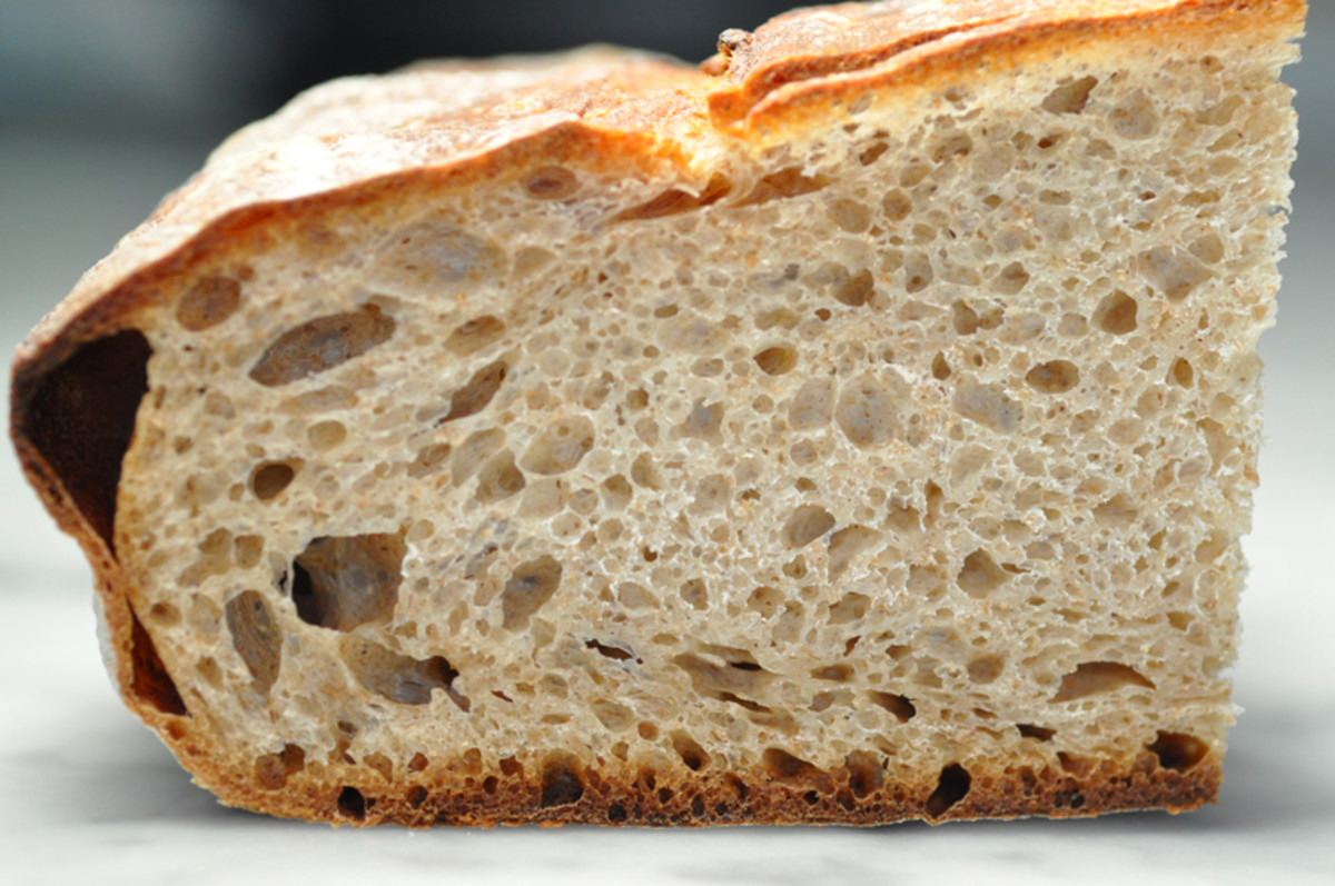 """The """"over-proofed"""" loaf. But it turned out ok. Using Pietro Porcu's method of structural shaping seems to produce a more closely textured bread. Image: © Siu Ling Hui"""