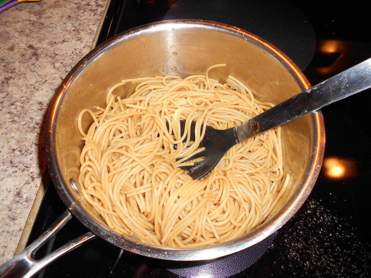 Lo mein noodles made from spaghetti