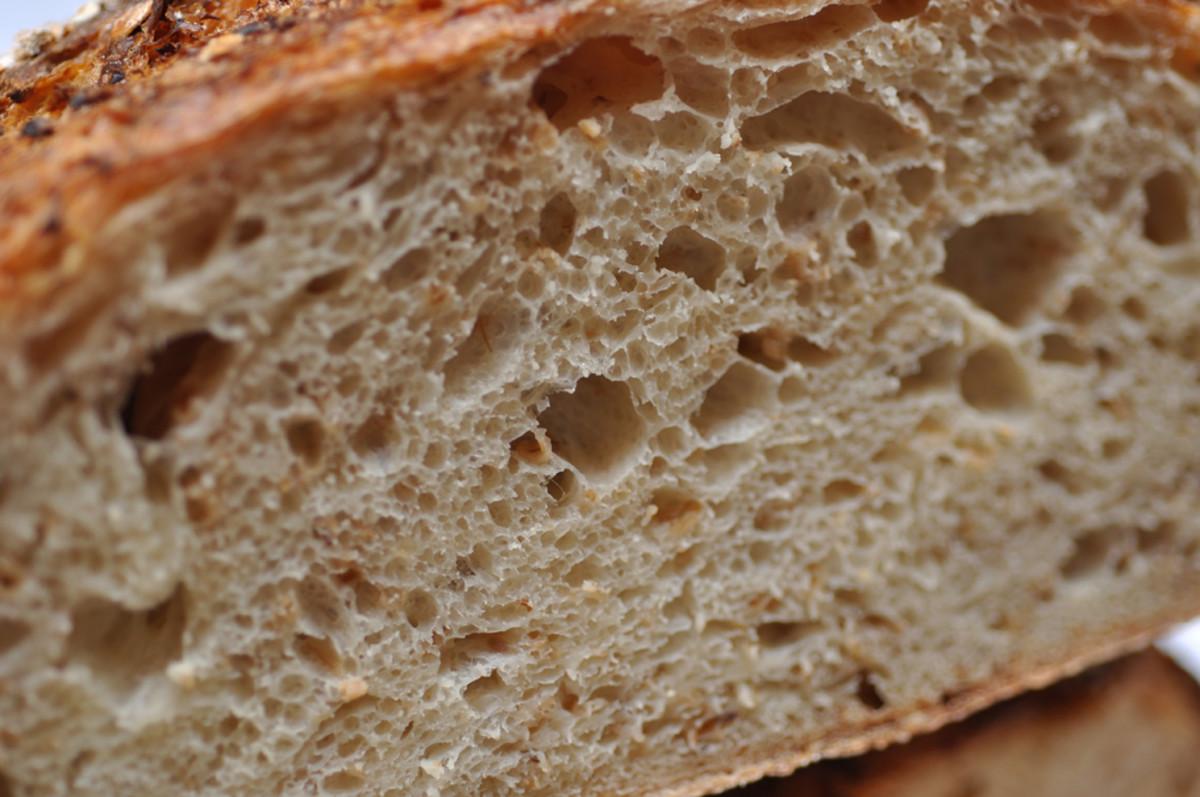 Close up view of crumb of Oat Porridge Bread Image: © Siu Ling Hui